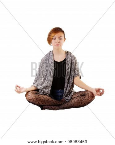 Asian American Woman Sitting In Lotus Position