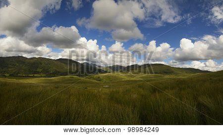 Beautiful mountains, land and cloudy sky near Lochailort, Scotland
