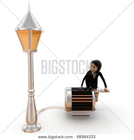 3D Women Generating Power Using Generator To Work With Public Lamp Concept
