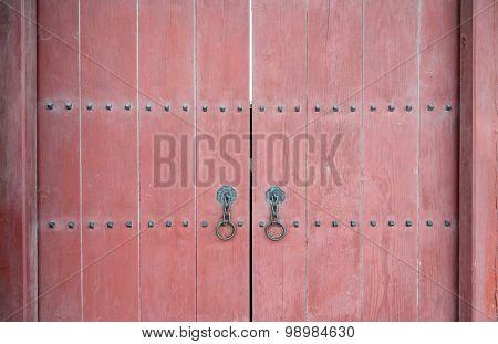 Red Wood Gate Of Korean Palace Closeup