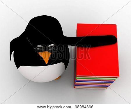 3D Penguin Nerd With Books Concept
