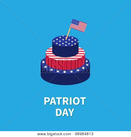 Cake With Star And Strip Flag Patriot Day Flat Design