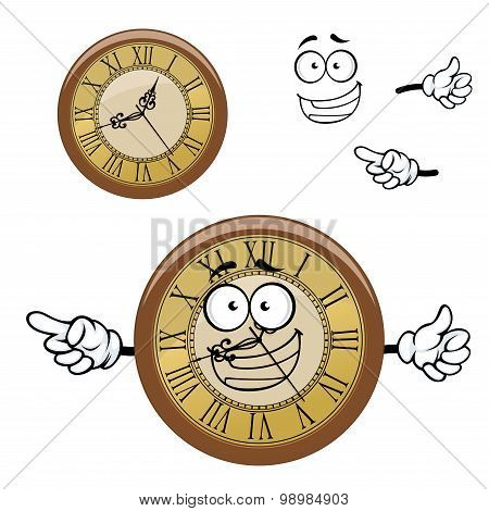 Vintage isolated clock cartoon character