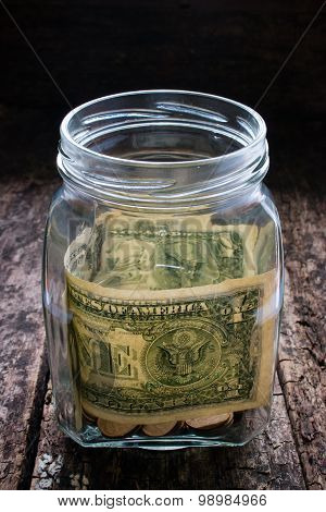 Donations To Help Those In Need Of Money In A Glass Jar