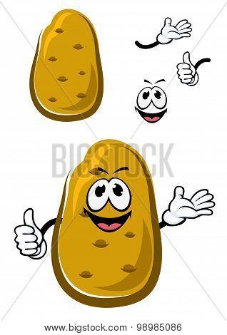 Cartoon fresh brown potato vegetable
