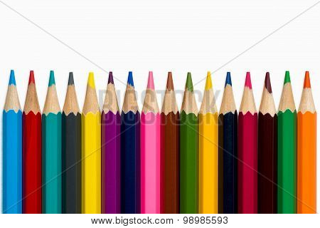Lined Colorful Pencils On White Background