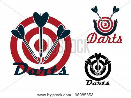 Darts emblems with dartboards and arrows