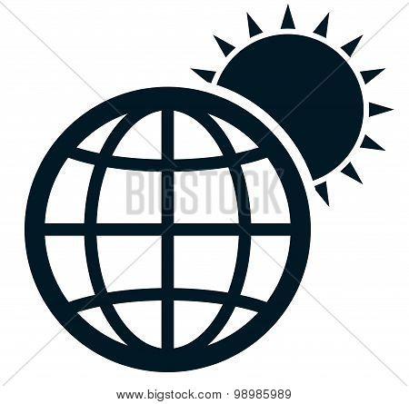 Vector Earth Sun Illustration Isolated On White