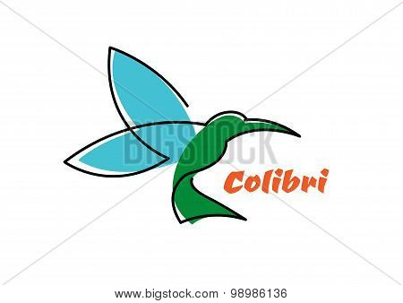 Flying hummingbird abstract outline symbol
