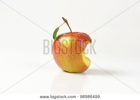 bitten apple on white background
