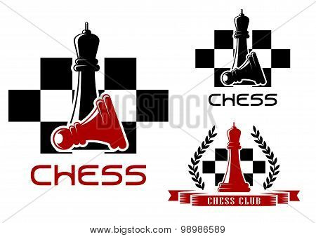 Chess club icons with queen and pawn