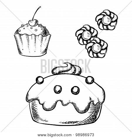 Cake, cupcake and cookies sketches