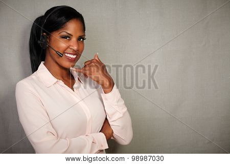 Young Callcenter Operator Smiling At The Camera