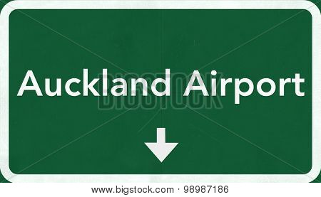 Auckland New Zealand Airport Highway Sign
