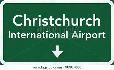 Christchurch New Zealand Airport Highway Sign
