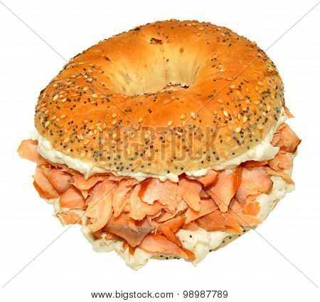 Smoked Salmon And Cream Cheese Bagel Sandwich