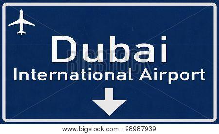 Dubai United Arab Emirates Airport Highway Sign