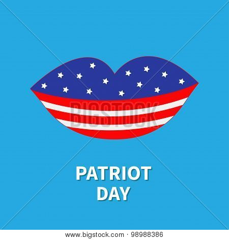 Lips With Star And Strip Patriot Day Flat Design