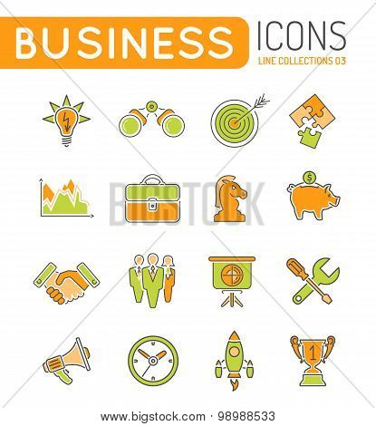 Business Strategy Thin Lines Color Web Icon Set