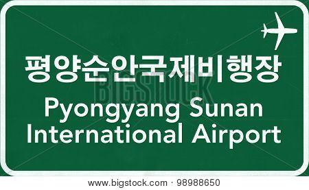 Pyongyang North Korea Airport Highway Sign