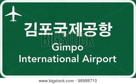 Seoul Gimpo South Korea Airport Highway Sign