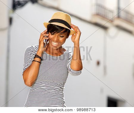Cool Young African American Woman Listening To Cell Phone