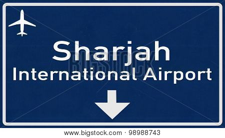 Sharjah United Arab Emirates Airport Highway Sign