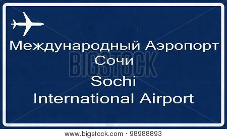 Sochi Russia Airport Highway Sign