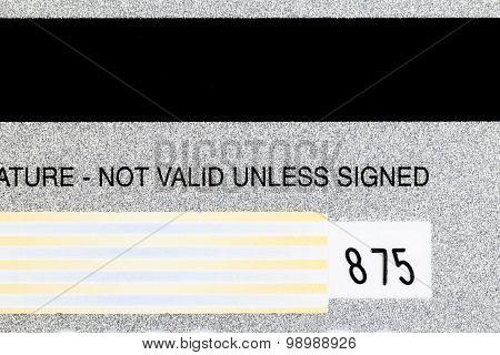 Closeup Shot Back Of Credit Card Detail