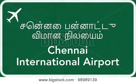 Chennai India Airport Highway Sign