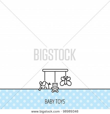 Baby toys icon. Butterfly, elephant and bear