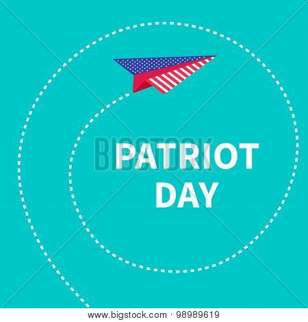 Patriot Day Background Paper Plane. Dash Line Spiral