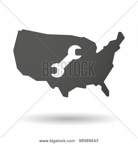 Usa Map Icon With A Wrench