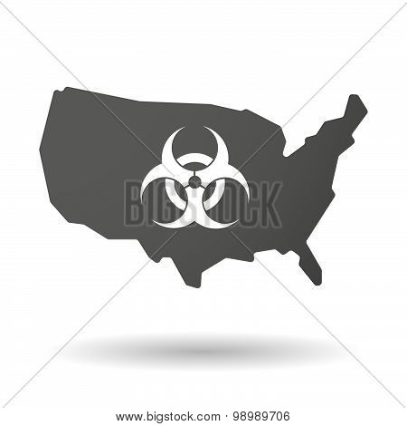 Usa Map Icon With A Biohazard Sign