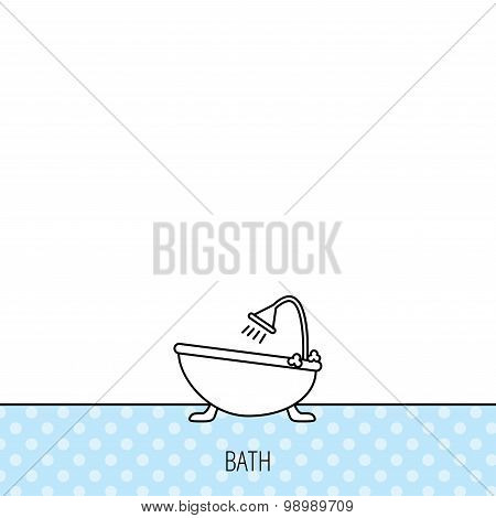 Bathroom icon. Bath with shower sign.