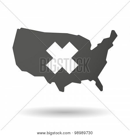 Usa Map Icon With An Irritating Substance Sign