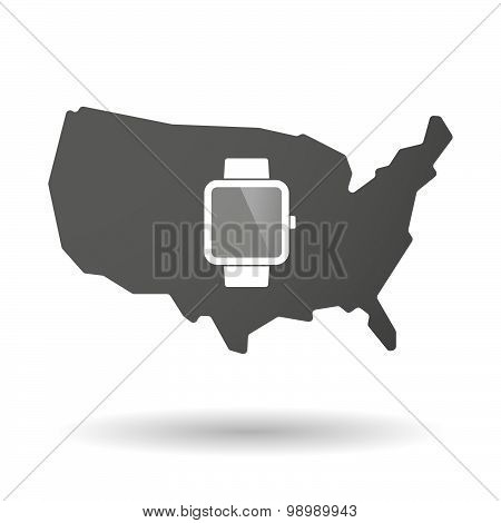 Usa Map Icon With A Smart Watch