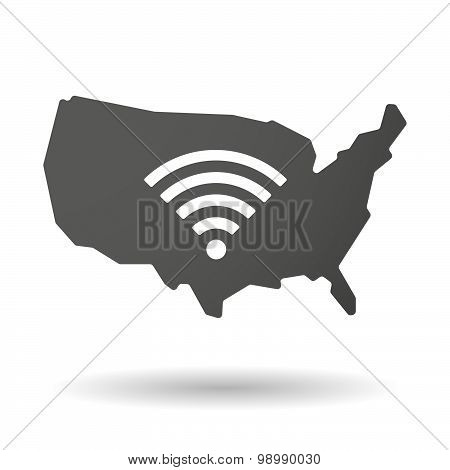 Usa Map Icon With A Radio Signal Sign