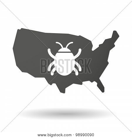 Usa Map Icon With A Bug