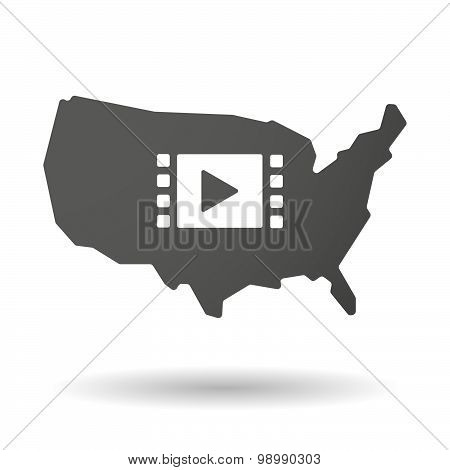 Usa Map Icon With A Multimedia Sign