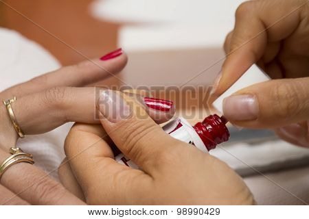 Drawing Of Red Nail Polish Manicure.