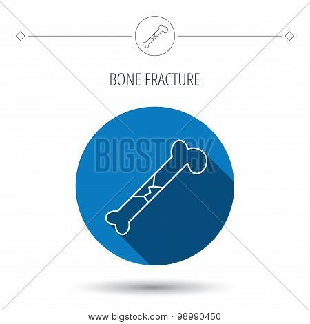 Bone fracture icon. Traumatology sign.