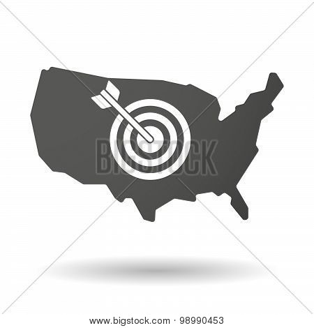 Usa Map Icon With A Dart Board