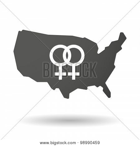 Usa Map Icon With A Lesbian Sign