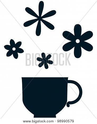 Vector Herbal Tea Cup Illustration Isolated On White