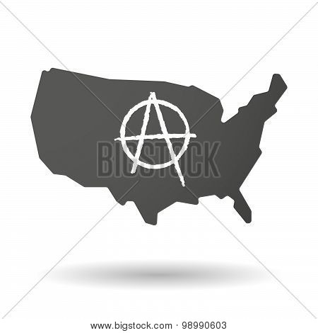 Usa Map Icon With An Anarchy Sign