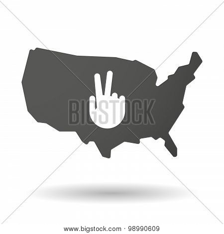 Usa Map Icon With A Victory Hand