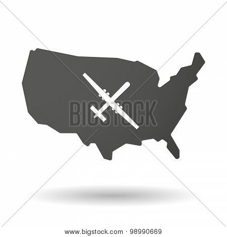 Usa Map Icon With A War Drone