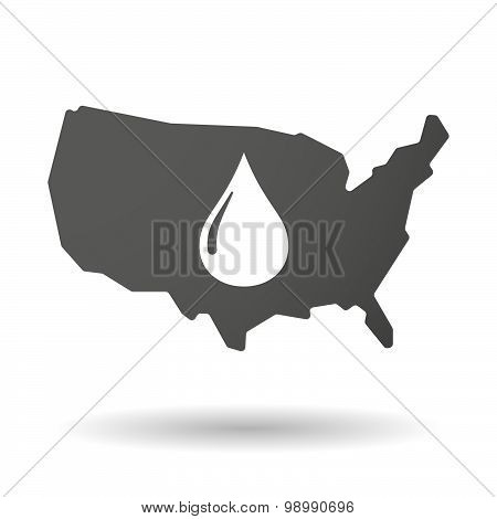Usa Map Icon With A Fuel Drop
