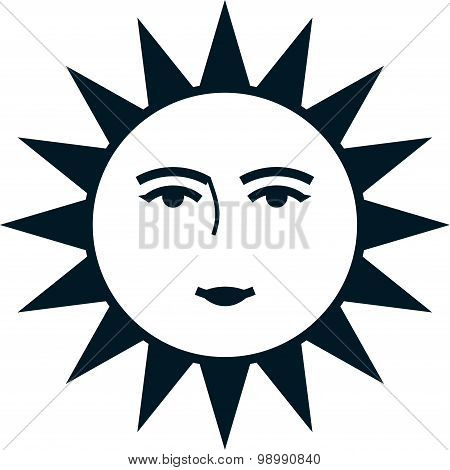 Vector Sun Face Isolated On White Background
